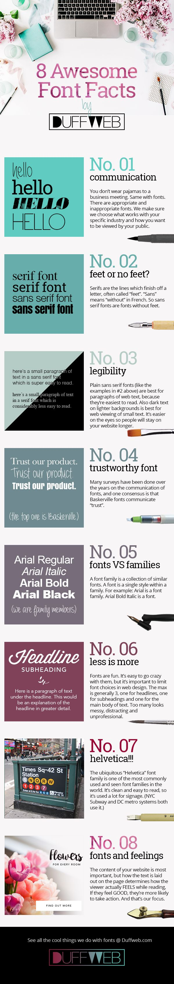 8 Awesome Font Facts infographic by Duffweb. Duffweb