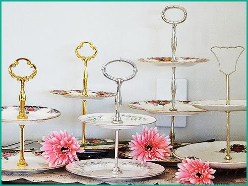 An Assortment of vintage 2 tiered plates for hire from Highteahire.co.nz  napier NZ  Mix and match or same patterns are available