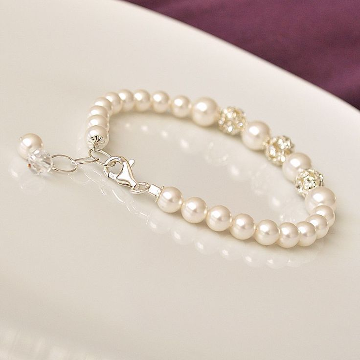 Bridal Bracelet, Rhinestone Pearl Wedding Bracelet. White Pearl Bracelet for the Bride. Bridesmaid Bracelet. Wedding Jewellery. $46.00, via Etsy.