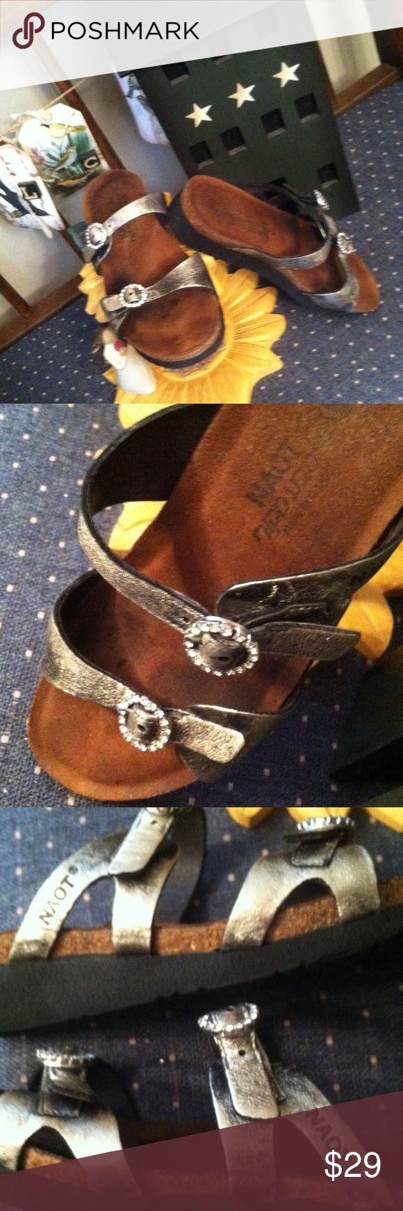 NATO sz 38 pewter sandals Awesome shoes. Fantastic price. Pewter sandals with bling naot Shoes Sandals