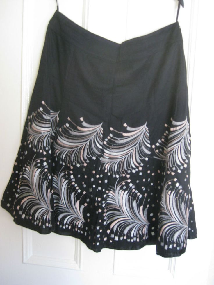 MONSOON black embroidered Calf length Skirt cotton with silk trim size 14