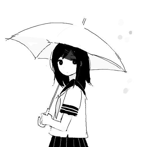 Anime Girl Schwarz Weiß