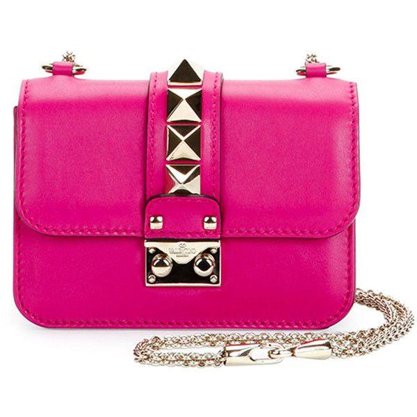 Valentino Lock Micro Mini Shoulder Bag ($2,005) ❤ liked on Polyvore featuring bags, handbags, shoulder bags, bolsas, laukut, pink, mini handbags, locking purse, chain shoulder bag and pink purse