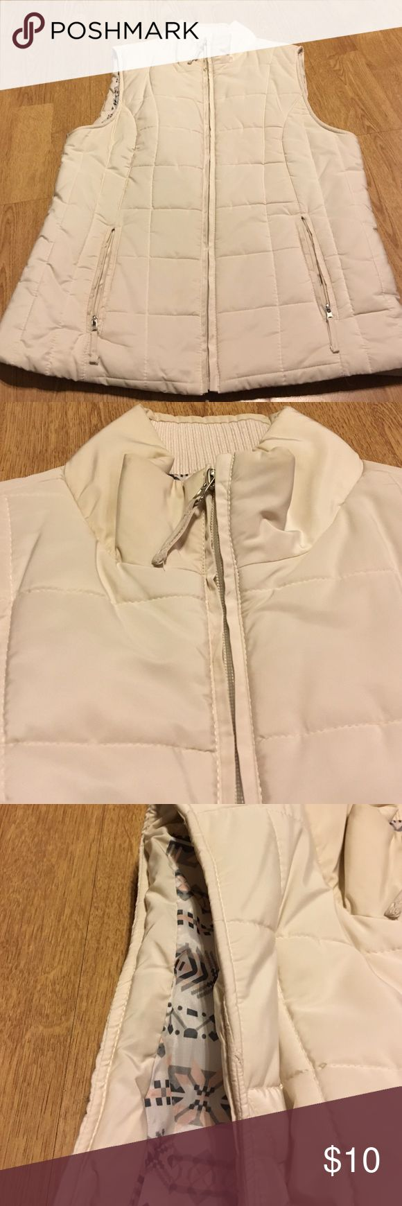Cream quilted vest!! Super cute , full zip cream vest! Classic- size medium Jackets & Coats Vests