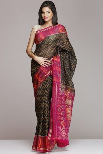 Black And Pink Pochampally Silk Cotton Saree
