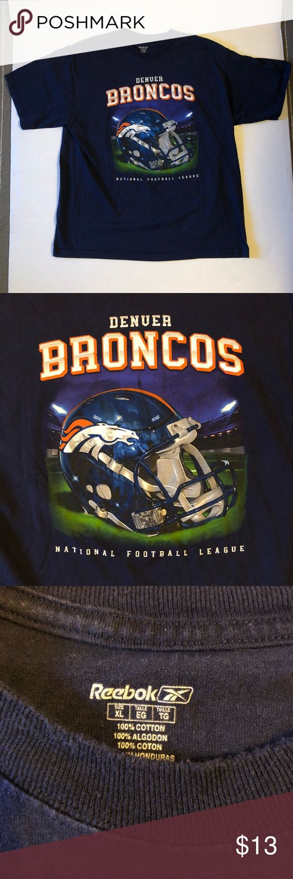 Denver Broncos NFL T-Shirt Mens XL Denver Broncos NFL T-Shirt Xtra-Large  For sale is a good condition Denver Broncos t-Shirt size men's XL. In good condition the shirt has no smells, odors and rips or tears.   Shirt ships out fast and free. Reebok Shirts Tees - Short Sleeve