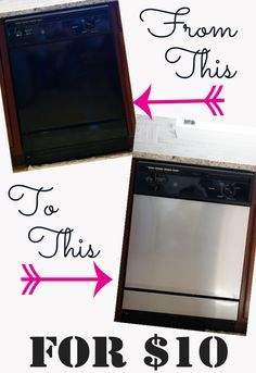 Covering a dishwasher with contact paper - so cheap! and takes an old scratched appliance to look like stainless steel