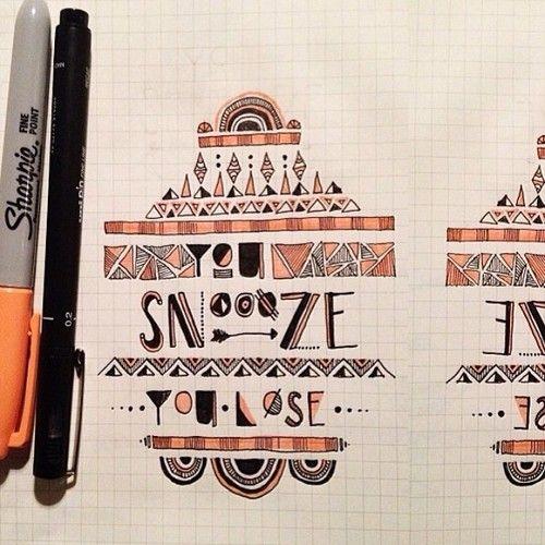 YØU SNØØZE YØU LØSE #typography #handdrawntypography #illustratedtypography #handdrawn #handlettering #lettering #moderndaymonk #yousnooze #...
