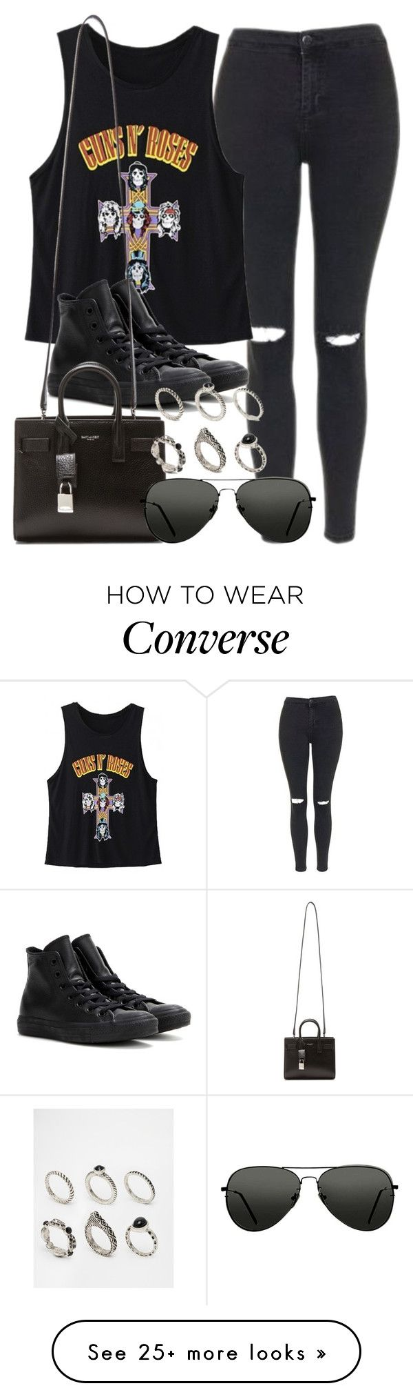 """""""Style #10488"""" by vany-alvarado on Polyvore featuring Topshop, WithChic, Converse, Yves Saint Laurent and ASOS"""