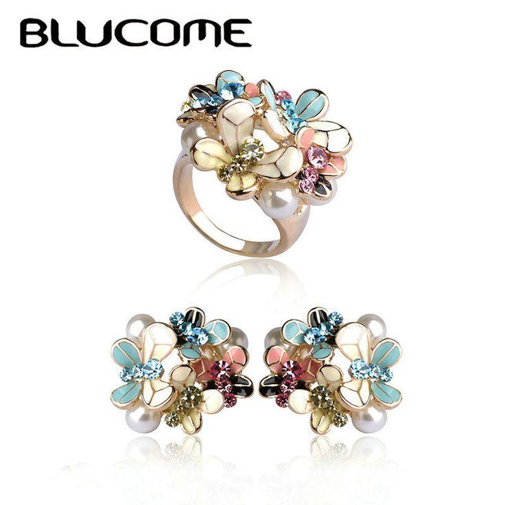 Blucome цветок серьги кольцо Набор Эмали Имитация Перл Ювелирные наборы  #Blucome