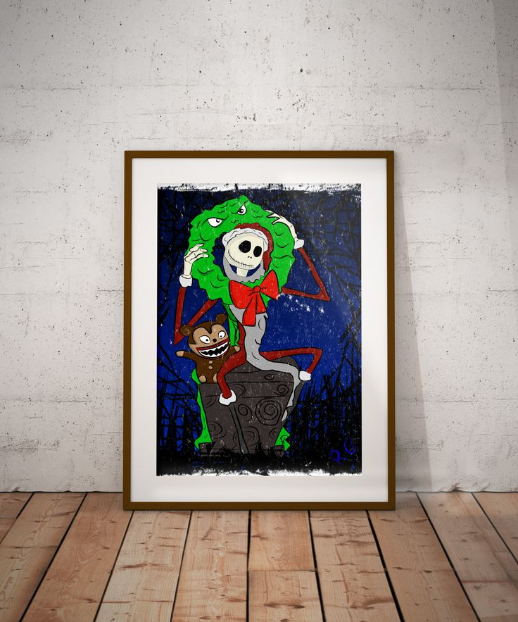Christmas Jack Skellington From The Nightmare Before Christmas Wall Art Print
