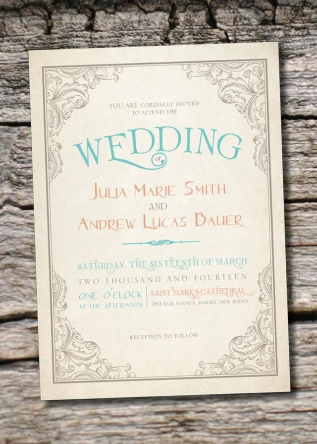 wedding invitation wording with no reception%0A    Gorgeous Rustic Vintage Wedding Invitations