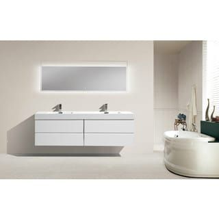 Shop For Moreno 72 Inch Wall Mounted Reinforced Acrylic Double Sink  Bathroom Vanity. Get