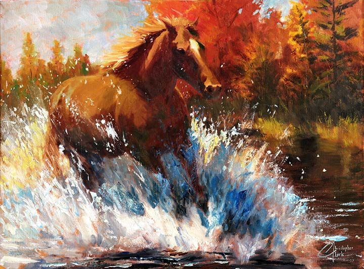 Freedom Web Original Horse Oil Painting For Sale