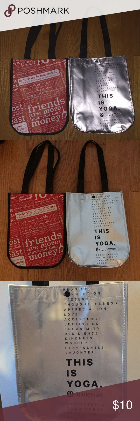 2 Lululemon Bags! (one is special edition) I have two new lululemon bag, one is special edition during the holidays! They have not been ruined. you can buy 1 for $5 or both for $10 :) lululemon athletica Bags Mini Bags