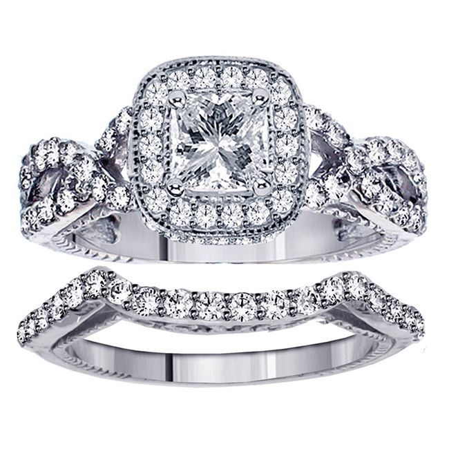 Gold 2 3/4ct TDW Clarity Enhanced Princess Diamond Bridal Ring Set