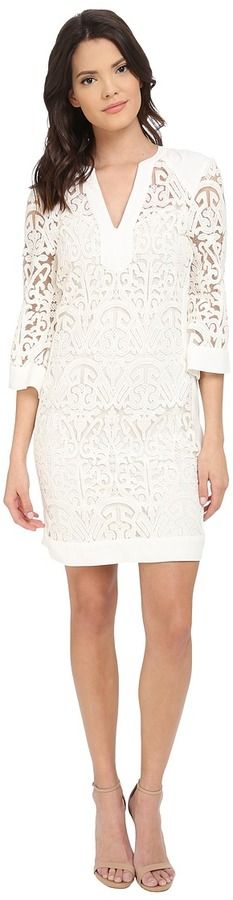 Hale Bob Thrills and Frills Embroidered Mesh Dress