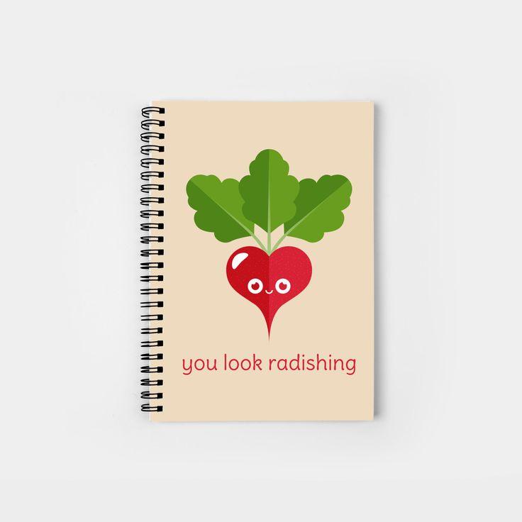 You Look Radishing spiral notebook by Slugbunny - pun, puns, beet, beets, vegetable, vegetables, food, funny, cute, love, relationship, tasteful, tasty, relationships, valentine, valentines, vector, art, illustration, drawing, design