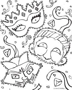 this purim coloring page can also be cut up into three festive masks