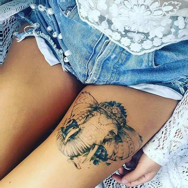 Elephant Thigh Tattoo Idea