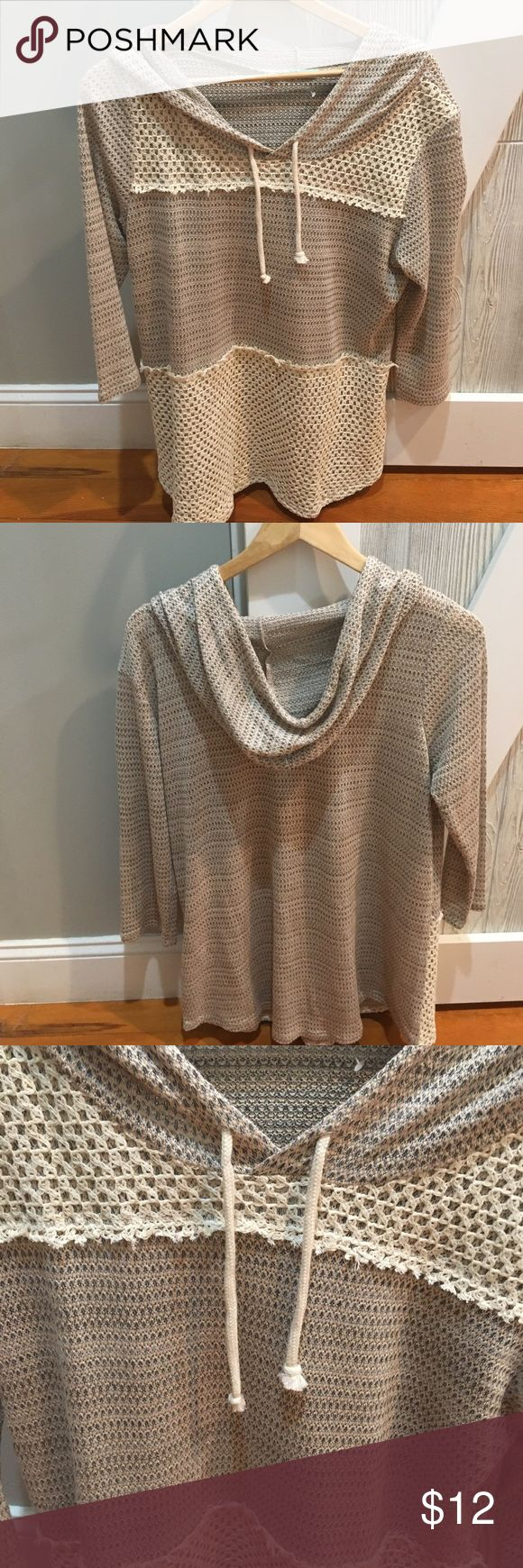 Light-weight woman's hoodie Tan/cream super cute hoodie - great formSpring!  Body is 50% rayon, 37% polyester an 3% spandex.  Crochet parts are 100% cotton.  Excellent condition. Maurices Tops Sweatshirts & Hoodies