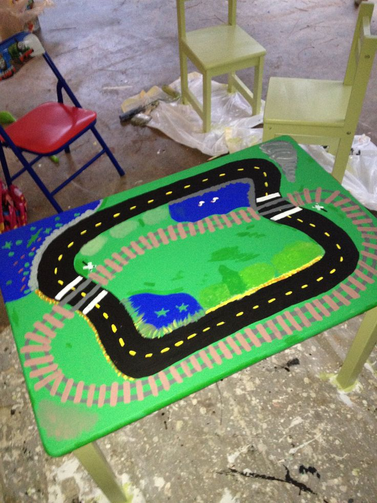 diy painted car and train track table