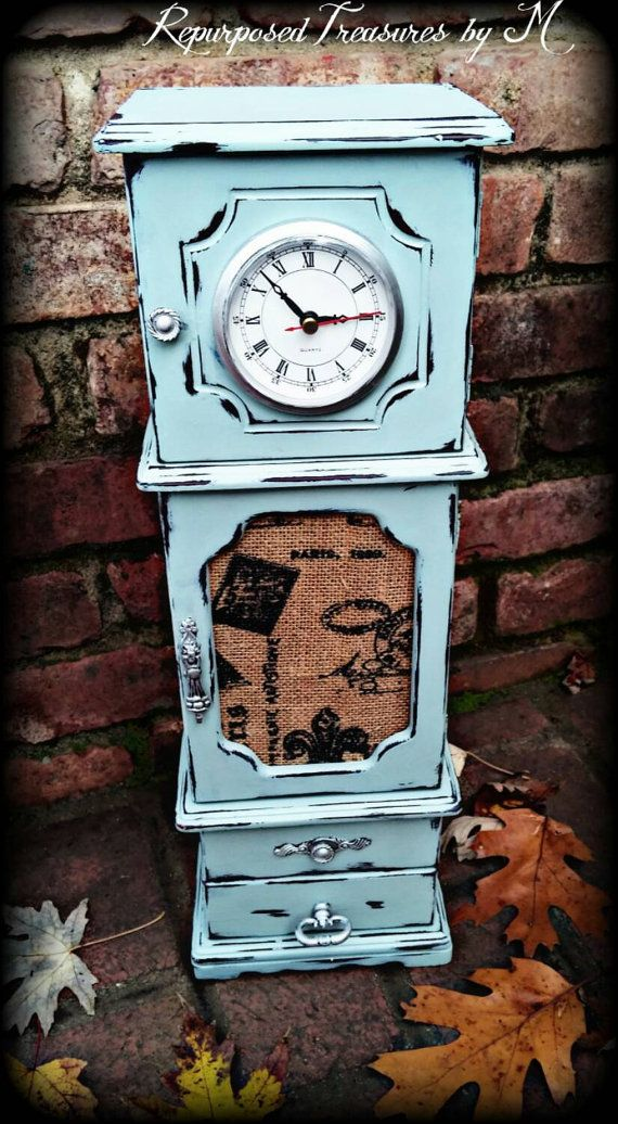 $95. Shabby chic jewelry box grandfather clock by RepurposedbyM on Etsy