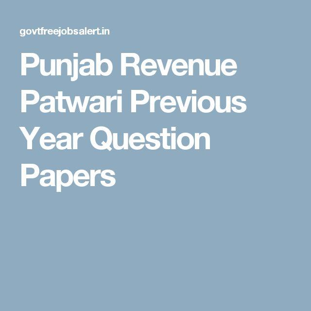 Punjab Revenue Patwari Previous Year Question Papers