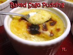 Baked sago pudding with lotus paste (could also use chestnut or taro paste)