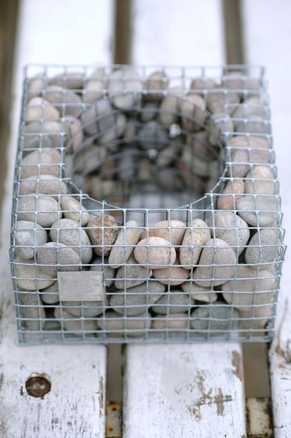 Neal and I saw giant versions of these somewhere..maybe at the 100 Acre Woods at the IMA? Can't remember for sure. Gabions or planter cubes.