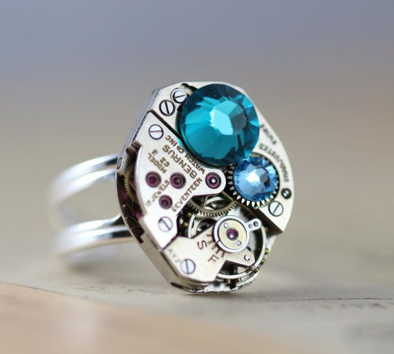 Steampunk Ring Sterling Silver Mothers Ring by inspiredbyelizabeth, $50.00