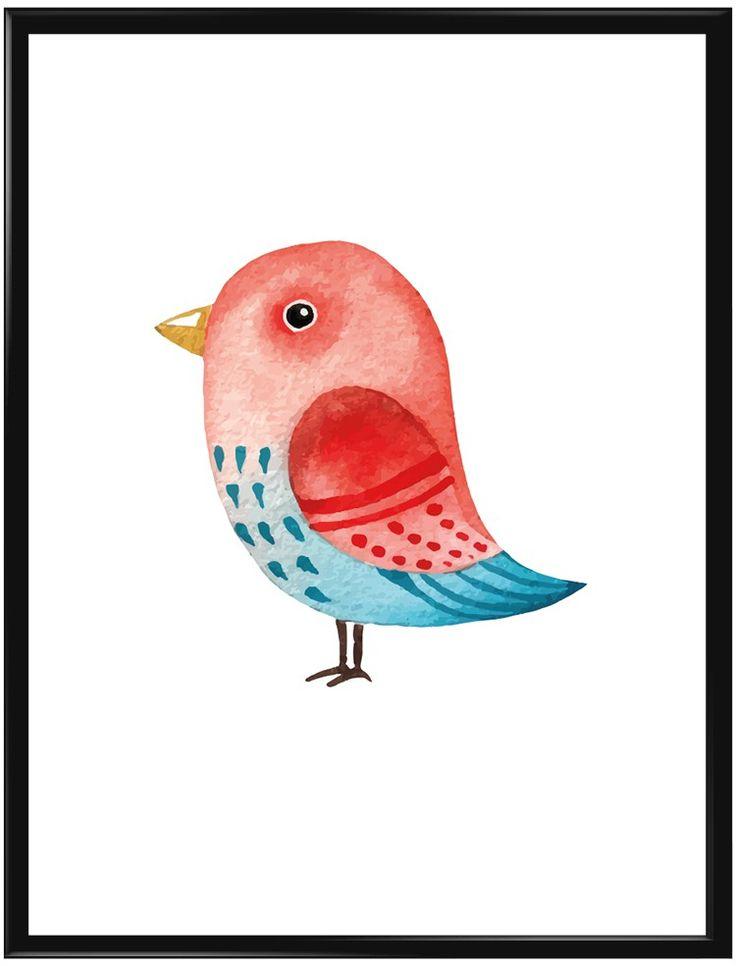 En färgglad liten fågel på vit bakgrund. Denna poster har vi gjort främst till…