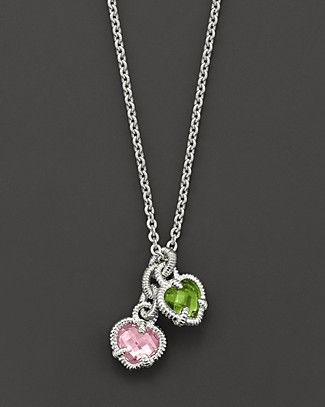 Judith Ripka Sterling Silver Twin Heart Necklace with Pink and Peridot Crystal | Bloomingdale's