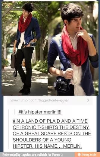 #it's hipster merlin!!!! #IN A LAND OF PLAID AND A TIME OF IRONIC T-SHIRTS THE DESTINY OF A GREAT SCARF RESTS ON THE SHOULDERS OF A YOUNG HIPSTER. HIS NAME… MERLIN.