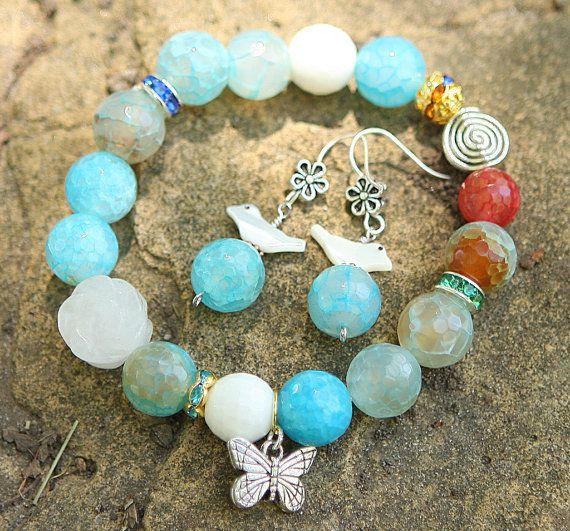 Jamie's Handmade Rose And Butterfly Natural Gemstone Bracelet & Earrings Set-S3