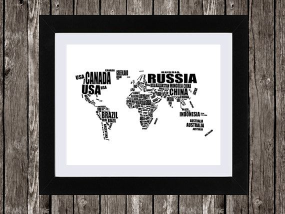 The 25 best world country names ideas on pinterest names of world map printable art typographic map by simplydigitalart gumiabroncs Image collections