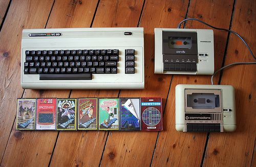 Commodore Vic-20 8-bit home computer with cassette games and two different datasettes.
