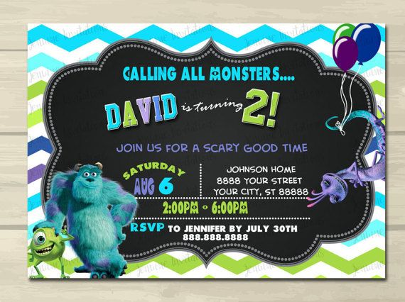 Monsters Inc. Birthday Invitations Sully by JenuineInvitations