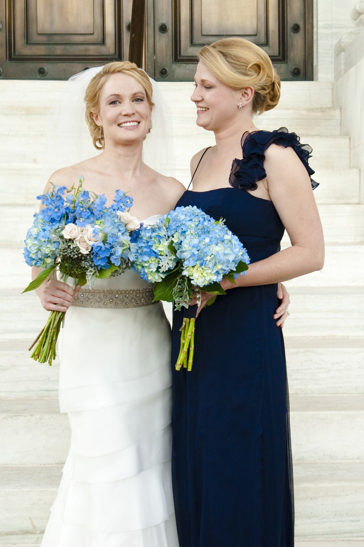 12 best flower arrangements images on pinterest floral navy bridesmaids dresses with blue hydrangea bouquets ombrellifo Image collections