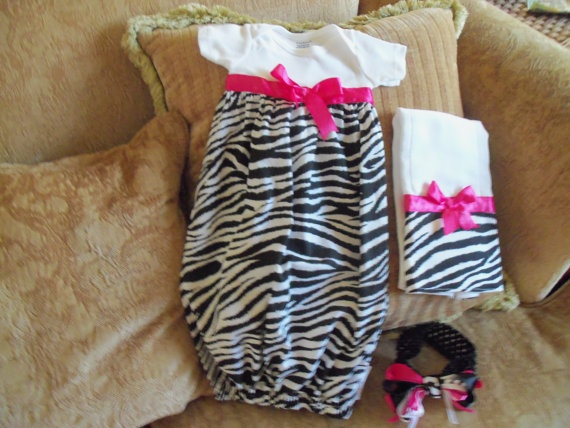 Layette Gown Set  Trendy Zebra with Hot Pink by mariahcreations, $34.99: Baby Jones, Gowns Sets, Future Baby, Baby Girls, Baby Gown, Trendy Zebras, Baby Layette, Layette Gowns, Baby Stuff