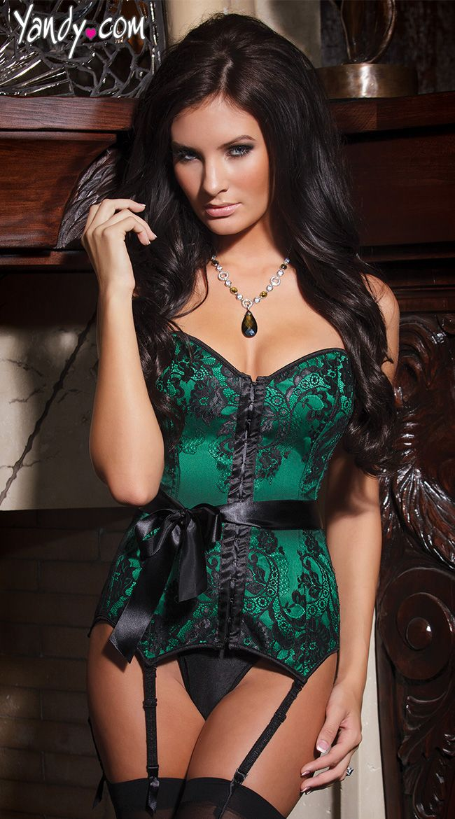 Emerald Satin Corset / Try to talk with your lover about getting you an Emerald Ring to match this delightful Corset.