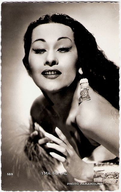 """""""Peruvian soprano Yma Sumac (1922 – 2008) was one of the most famous proponents of exotica music of the 1950's. She became an international success based on her extreme vocal range, which was said to be """"well over four octaves"""" and was sometimes claimed to span even five octaves at her peak. Both low and high extremes can be heard in the song Chuncho (The Forest Creatures) (1953). She was also apparently able to sing in an eerie 'double voice'."""" #vintage #singer #performer #Peruvian #music"""