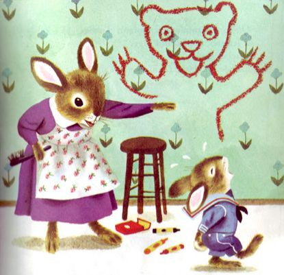 I did this as a kid...crayons on the wall.  Nice to know I'm not alone! Naughty Bunny (1959)