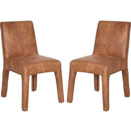 Bepurehome Co Stuhl Set Aus Zwei Stühlen Leder Cognac