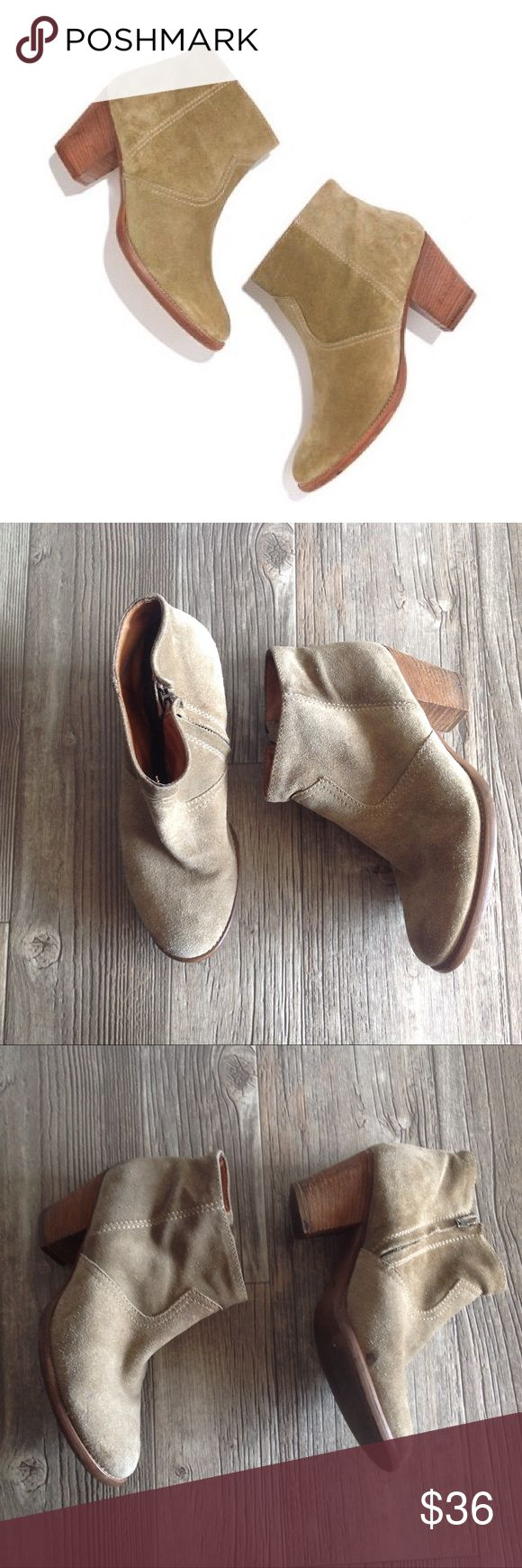 Madewell Zip Code Booties in Suede - scuff on the back of the right boot - the suede definitely needs cleaning but the soles have very light wear Madewell Shoes Ankle Boots & Booties