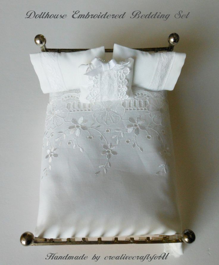 Dollhouse Bedding, Dollhouse Bed Spread & Pillows, Elegant Embroidered Bedding Ensemble, Shabby Chic, Handmade OOAK 1/12th Scale by creativecraftsforU on Etsy https://www.etsy.com/listing/486949843/dollhouse-bedding-dollhouse-bed-spread