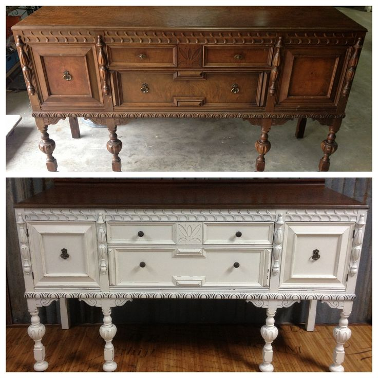 Painted Antique Buffet Before and After: Webster's Chalk Paint Powder and Behr's Eggshell Creme by A to Z Custom Creations