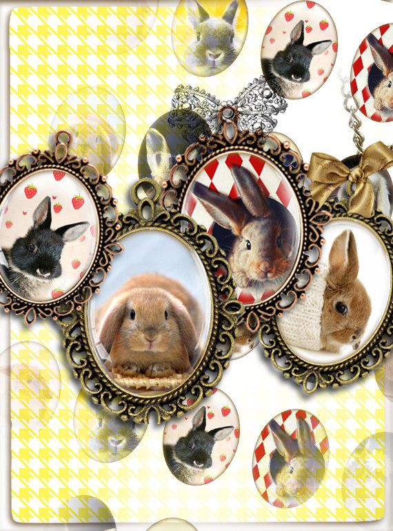 Bunnies Rabbit Cabochon oval images Clip Art for by PrintCollage