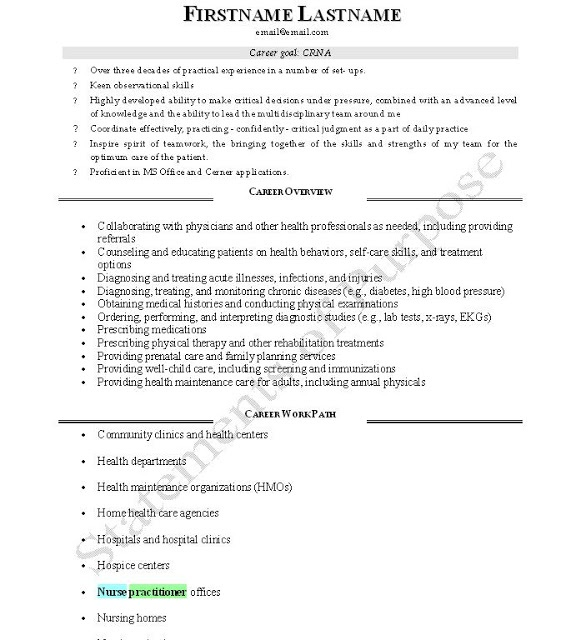 good crna resume