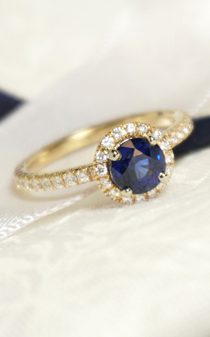 Custom Yellow Gold 115 Carat Blue Sapphire And Diamond Halo Engagement Ring   Joseph Jewelry